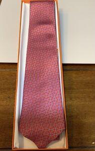 NEW  Hermes Tie Silk Rouge/Lavender Silk Tie NWT 5160 HA RARE!