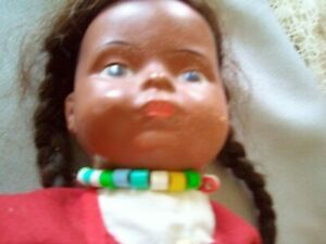 """VINTAGE 1950'S COMPO INDIAN MAIDEN w PAPOOSE 18"""" DOLL BRAIDS FELT COSTUME"""