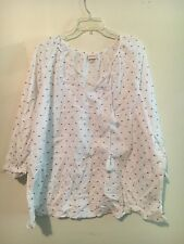MERONA WOMEN WHITE NAVY BLUE POLKA DOT TOP BLOUSE SIZE XXL STYLISH