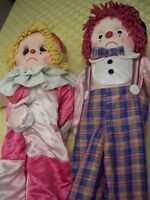 """A Pair Of  Vintage Celia dolls Crying Clowns 36""""&33""""  Made In England UK"""