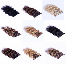 """Hot 22"""" Clip In Remy Real Human Hair Extensions Body Wavy Black Brown Blonde 75g"""