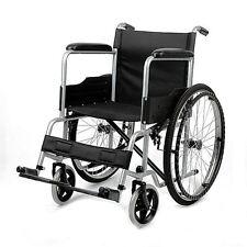 Folding Wheelchair Self Propelled Lightweight TRANSIT Footrest Armrest Brake UK Grey