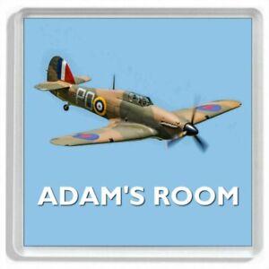 Personalised HAWKER HURRICANE WW2 Fighter Aircraft Door Sign / Door Plaque