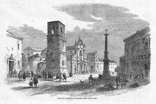 ITALY Piazza di Solofra at SALERNO - Antique Print 1858