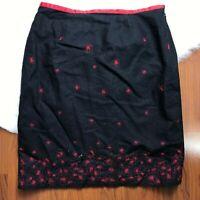 Alfani Womens 14 Linen Blend Pencil Skirt Black Red Embroidered Flowers Side Zip