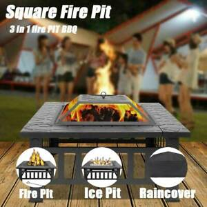 Fire Pit BBQ Firepit Brazier Square Table Stove Patio Heater Outdoor Garden UK