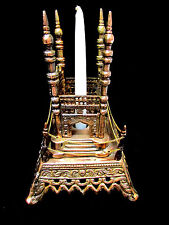 Tall Metal Royal Castle Statue or Candle Stand Holder Copper Color VTG Unique