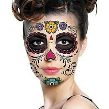 2PCS Day of the Dead Temporary Halloween Eye and Face Tattoos (Assorted Designs)