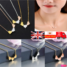 New UK Trendy Silver/Gold 3 Love Heart Women Pendant Jewelry Necklace Chain Gift