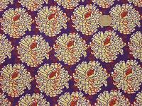 Quilting Fabric Cream Chrysanthemum Flowers Purple BG 100% Cotton FQs | PUF12