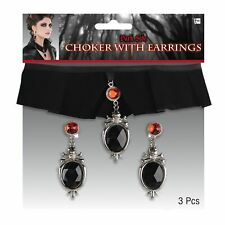 Ladies Sexy Vampire Velvet Choker Gothic Halloween Fancy Dress Accessory Adults