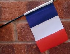"FRANCE HAND WAVING FLAG Small 6"" x 4"" with black pole FRENCH PARIS FRANCAIS"
