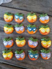 """LOT OF 200 CERAMIC SUNNY TANGERINE WITH SUNGLASSES  1"""" HANDPAINTED 3 COLOR NOS!"""