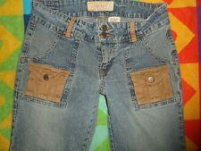unique BONGO Jeans jrs 7 Corduroy CARGO POCKETS Frayed Flare Low Hippie rise