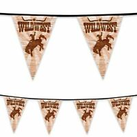 6m Plastic Bunting Wild West Cowboy Rodeo Banner Garland Party Decoration