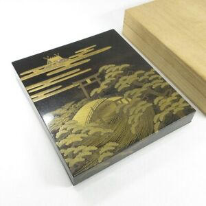 D0061: High-class Japanese old lacquer ware ink stone case with finest MAKIE