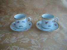 Set of 2 Tirschenreuth Bavaria Mini Cups & Saucers ~Pink & Blue Floral Gold Gilt