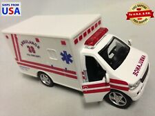"""Rescue Team, Fire Department, Paramedic Ambulance 5"""" Diecast Pull Back Toy White"""