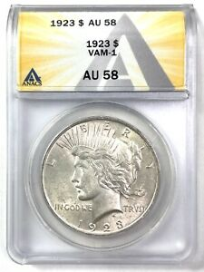 1923 Peace Silver Dollar - VAM-1 - ANACS AU 58