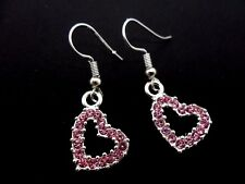 A PAIR OF SILVER & PINK CRYSTAL /RHINESTONE HEART DANGLY EARRINGS. NEW.