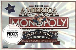 Monopoly The America Special Ed. Replacement Pieces & Parts Tokens Cards Money