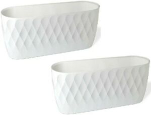 Set Of 2 Large 30cm Long Garden Oval Planter Plant Pot Indoor / Outdoor White