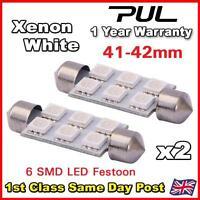 2X 42mm C5W 12V 6SMD Super White Car Interior Dome Festoon LED Light Bulb Lamp