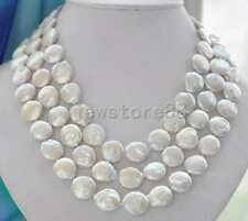 "50""13-14mm White Coin Freshwater Pearl Necklace Silver Clasp"