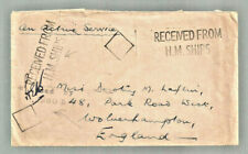 "Gb Wwi ""On Active Service"" cover ""Received from Hm Ships"" censored to England"