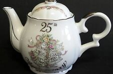 Lefton Hand Painted 25th Silver Wedding Anniversary Teapot Tea Pot 10577 Label