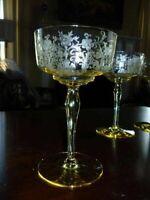 4 Tiffin Cordelia Mandarin Yellow Champagne Tall Sherbet Sherbets 5 7/8 Inch