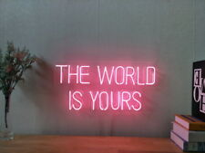 New The World Is Yours Neon Sign For Bedroom Wall Home Decor Artwork With Dimmer