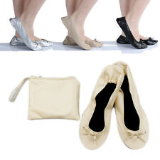 Ladies Fold Up Pumps Flats after Party Shoe Pocket FREE Pocket Foldable Bag NEW