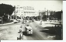 Singapore 1910s Real Photo Postcard Asia Street View Trolleys Antique Cars