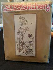 Autumn Thistles Sunset Stitchery Kit #2266 Vintage 20 x 20 Nip
