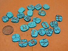 Turquenite Blue Howlite Engraved Rune Stone Set Runic, Symbols Chart, Cloth Bag