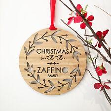 Personalised Christmas Wreath Gift Wood Bamboo Wall Hanging