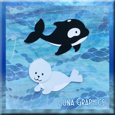 WHALE AND BABY SEAL  Embellishment Paper Piecing card toppers and scrapbooking