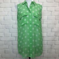 Equipment Femme Green Print Sheer Silk Tunic Blouse Size XS Sleeveless