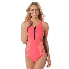 Everlast- Women's Zipper-Front Swimsuit - Geometric Print, size: Large, Fuschia