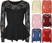 New Womens Ladies Popcorn Body Lace Long Sleeve Peplum Frill Top Size Uk 8-14