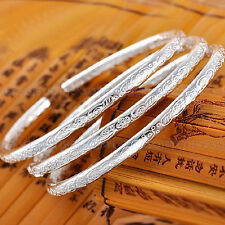 Ladies Jewelry 925 Sterling Silver Boho Open Cuff Bracelet Bangle Gifts 1pc