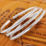 Ladies Jewelry 925 Silver Plated Vintage Boho Open Cuff Bracelet Bangle Gift 1PC