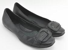 WOMENS BORN SLIDES SHOES SIZE 6.5 US 37 EU BLACK LEATHER BUCKLE FLATS