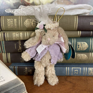 Bearington Mini Spring Bunny Ornament Hat and Sweater 5 inch