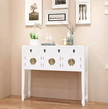 Asian Chinese White Wood Sideboard TV Console Hallway Cabinet Table with Drawers
