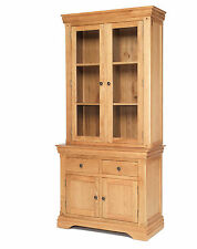 French Rustic Oak Solid Chunky Wood Small Dresser Display Cabinet Cupboard Unit