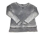 🎸Rock & Republic Gray Burnout Long Sleeve Stretch Shirt W/Studs Sz M