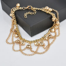 Korean Womens Chic Fashion Small Fresh Gold Plated Bracelet Bell Chain Jewlery
