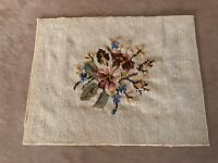 Antique needlepoint floral beige roses vintage pillow cushion stool seat cover